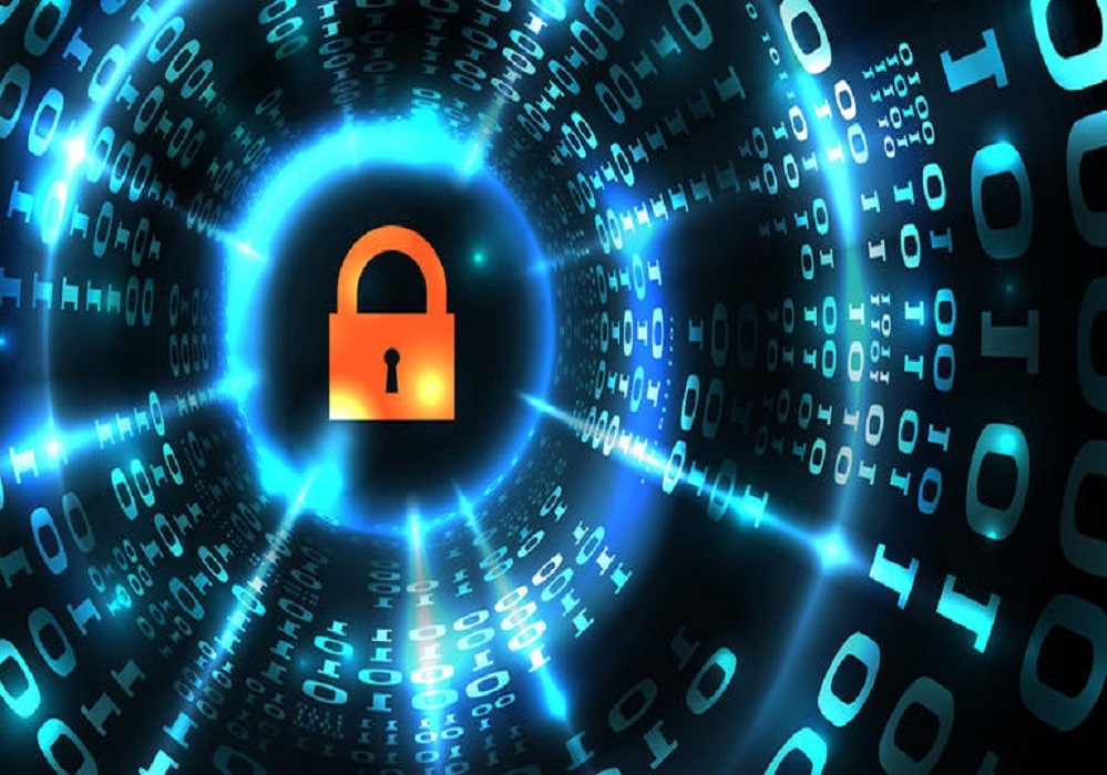 Computer system protection, database security, safe internet. Lock symbol on abstract computer data background programming binary code, data protection technology. Vector illustration